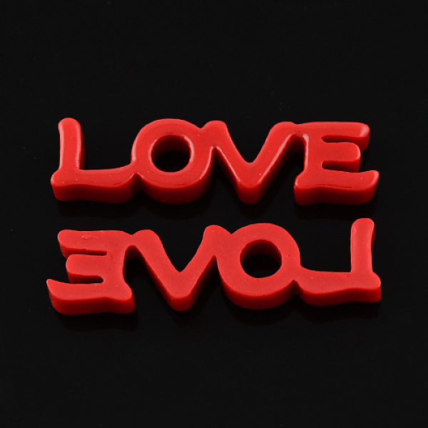 PandaHall Flatback Resin Cabochons, Word Love for Valentine's Day, FireBrick, 47x11x6mm Resin Word Red
