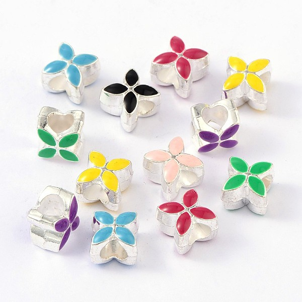 PandaHall Alloy Enamel European Beads, Large Hole Beads, Flower, Silver, Mixed Color, 10x10x8mm, Hole: 5mm Alloy+Enamel Flower M