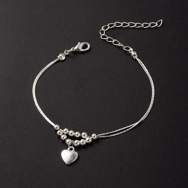 PandaHall Tibetan Style Heart Charm Anklets, with Iron Beads, Brass Coreana Chains and Brass Lobster Claw Clasps, Silver Color Plated, 9...