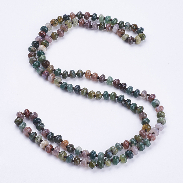 "PandaHall_Natural_Indian_Agate_Beaded_Multi-use_Necklaces_Wrap_Bracelets,_Three-Four_Loops_Bracelets,_Faceted,_Abacus,_37.4""(95cm)_Indian..."