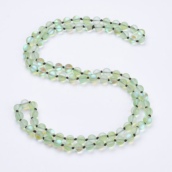 "PandaHall_Synthetic_Moonstone_Beaded_Multi-use_Necklaces_Wrap_Bracelets,_Three-Four_Loops_Bracelets,_Round,_PaleGreen,_36.2""(92cm)_Moonstone..."