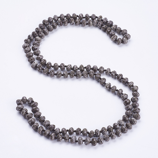 "PandaHall_Natural_Snowflake_Obsidian_Beaded_Multi-use_Necklaces_Wrap_Bracelets,_Three-Four_Loops_Bracelets,_Faceted,_Abacus,_37.4""(95cm)..."