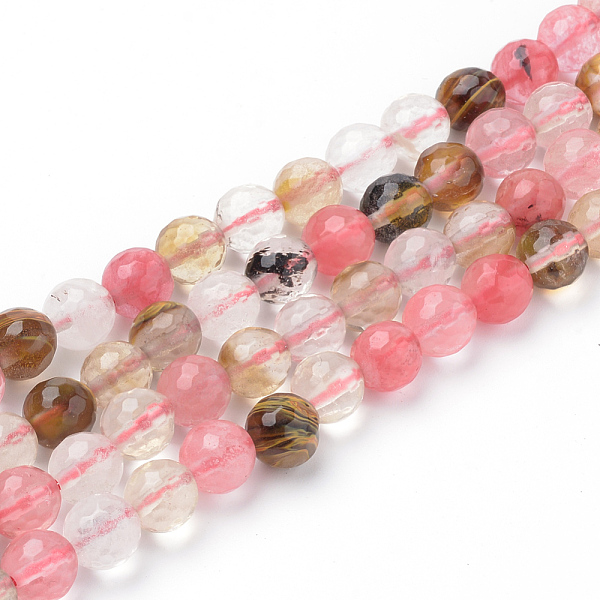 PandaHall Tigerskin Glass Beads Strands, Faceted, Round, 6~6.5mm, Hole: 1mm; about 63pcs/strand, 15.5