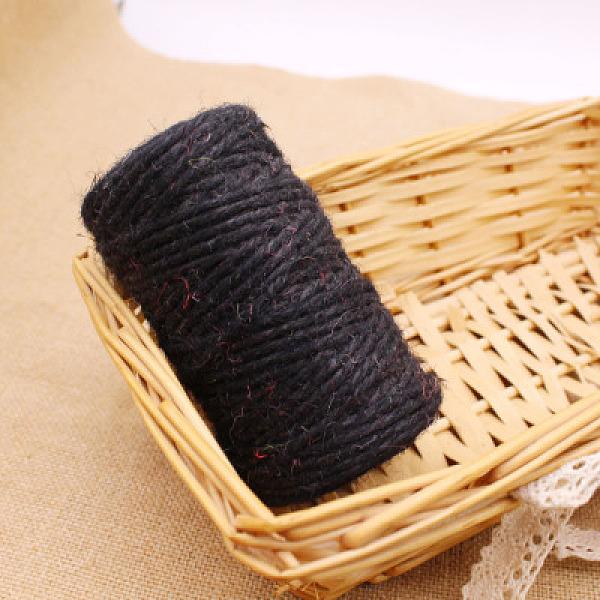 PandaHall Hemp Cord Twine String, for Jewelry Making, Black, 3mm; about 50m/roll Hemp Black