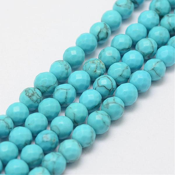 PandaHall Synthetic Turquoise Bead Strands, 4mm, Hole: 1mm; about 94pcs/strand, 15.3