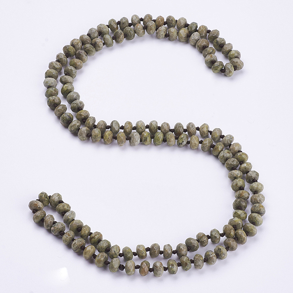 "PandaHall_Natural_Unakite_Beaded_Multi-use_Necklaces_Wrap_Bracelets,_Three-Four_Loops_Bracelets,_Faceted,_Abacus,_37.4""(95cm)_Unakite"