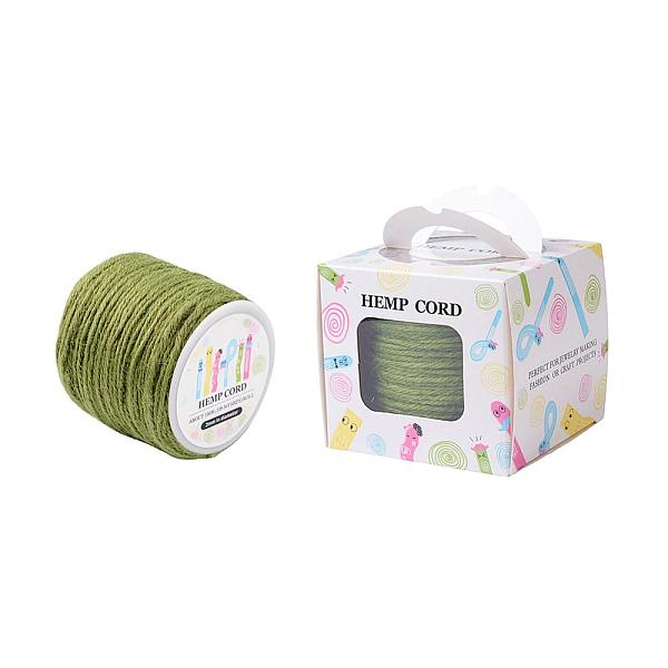 PandaHall Colored Hemp Cord, Hemp String, Hemp Twine, for Jewelry Making, YellowGreen, 2mm; 109.36yards/roll(100m/roll) Burlap G