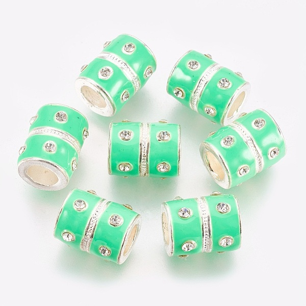 PandaHall European Alloy Enamel Beads, with Rhinestone, Lead Free and Cadmium Free, Barrel, Silver Color, Size: about 12mm wide,