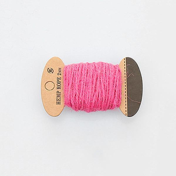 PandaHall Hemp Cord Twine String, 3 Ply, for Jewelry Making, HotPink, 2mm; 10m/board Hemp Pink