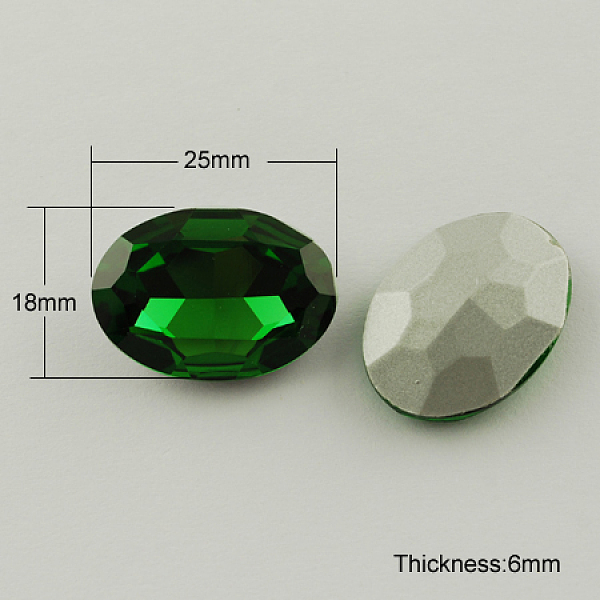 PandaHall Glass Pointed Back Rhinestone, Back Plated, Faceted, Oval, Green, 18x25x6mm Glass Rhinestone Oval Green
