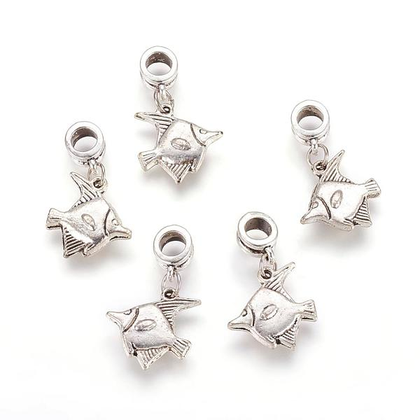 PandaHall Alloy European Dangle Beads, Fish, Antique Silver, 29mm, Hole: 5mm Alloy Fish